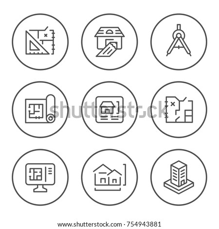 Set round line icons of architectural isolated on white