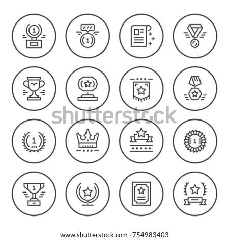 Set round line icons of award isolated on white
