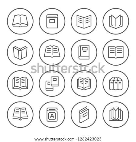 Set round line icons of book isolated on white