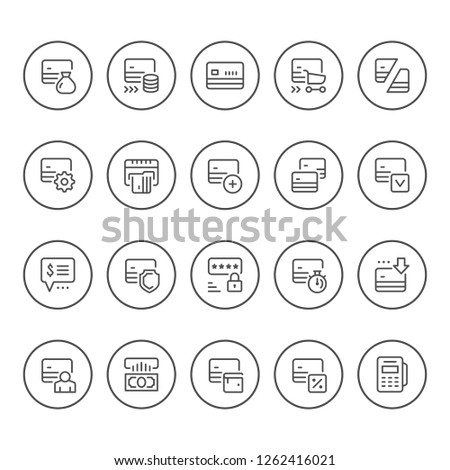 Set round line icons of credit card isolated on white
