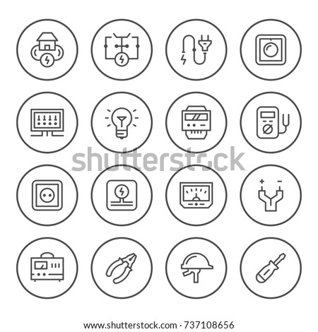 Set round line icons of electricity isolated on white