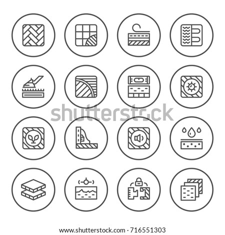 Set round line icons of floor isolated on white