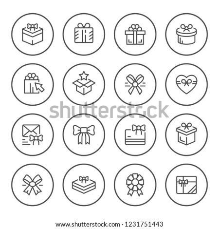 Set round line icons of gift isolated on white
