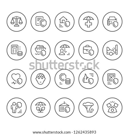 Set round line icons of insurance isolated on white