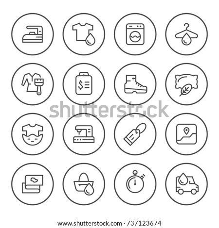 Set round line icons of laundry isolated on white