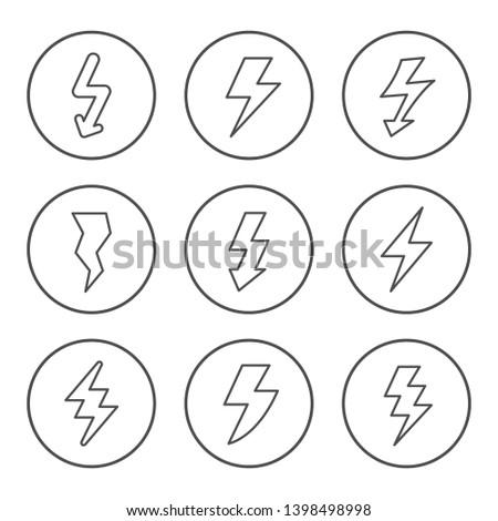 Set round line icons of lightning isolated on white