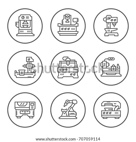 Set round line icons of machine tool isolated on white