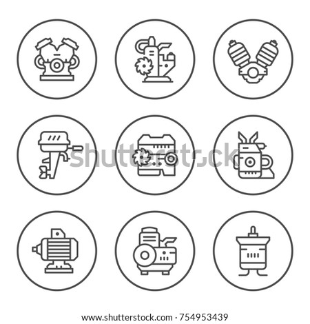 Set round line icons of motor and engine isolated on white