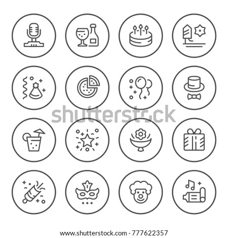 Set round line icons of party isolated on white