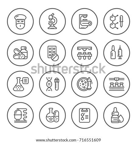 Set round line icons of pharmaceutical industry isolated on white