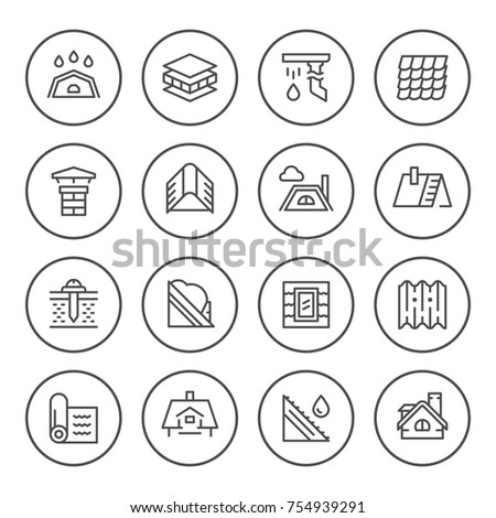 Set round line icons of roof isolated on white