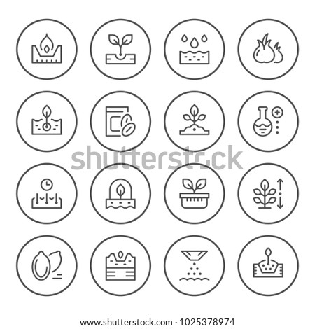 Set round line icons of seed and seedling isolated on white