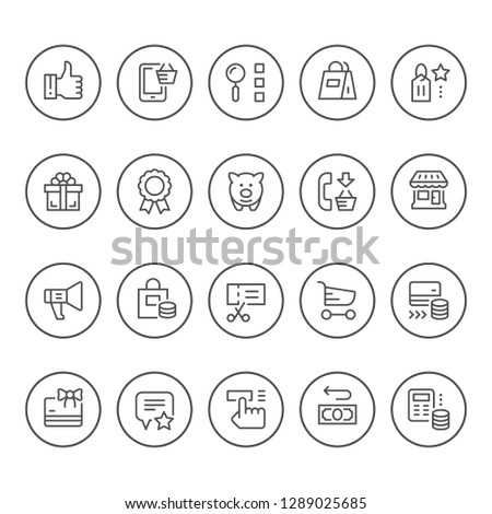 Set round line icons of shopping isolated on white