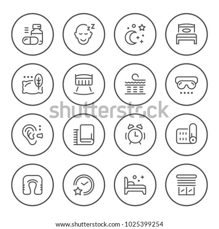 Set round line icons of sleep isolated on white