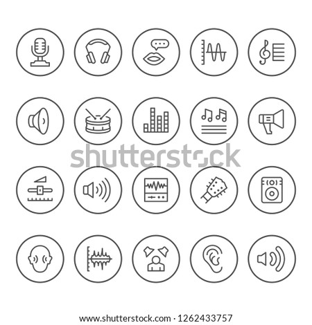 Set round line icons of sound isolated on white