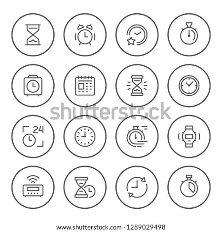 Set round line icons of time isolated on white