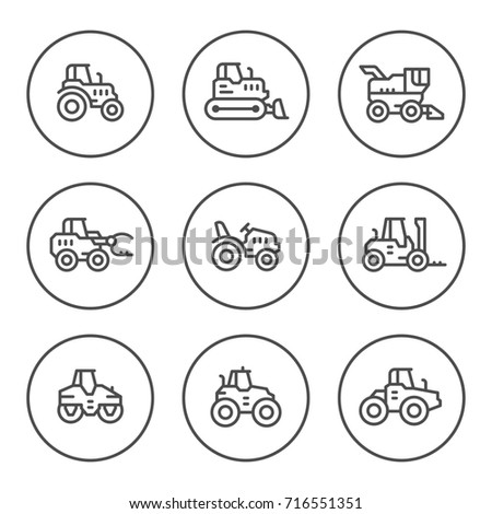 Set round line icons of tractors, farm and buildings machines, construction vehicles isolated on white