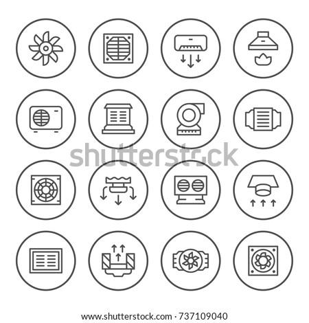 Set round line icons of ventilation isolated on white