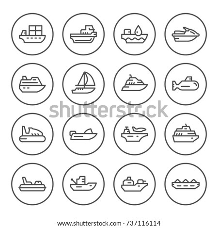 Set round line icons of water transport isolated on white
