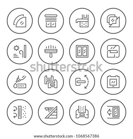 Set round line icons of window isolated on white