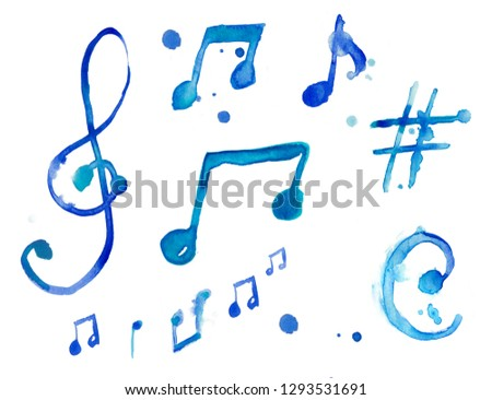 Set signes illustration watercolor music note with treble key, treble clef sharp, jazz, blues, swing, rock'n'roll