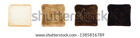 Set slice toasts bread varying degrees of roasting. From unroasted to charred. isolated on white background #1385816789