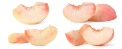 set Sliced pink peach isolated on white with peach clipping path