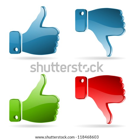 Set Social Media Sticker with Like and Unlike Icon, isolated on white