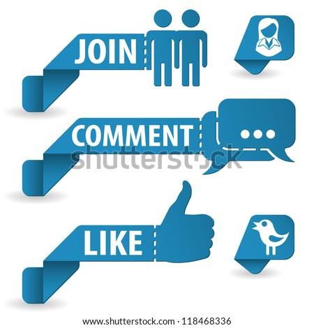 Set Social Media Stickers with Like, Speech Bubble, Join and Bird Icon, isolated