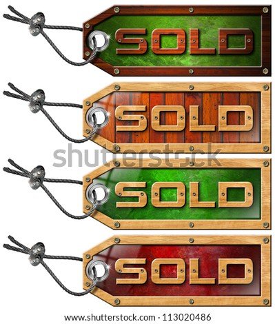 Set Sold Tags on White Background / Wooden grunge tags with steel cable and written sold