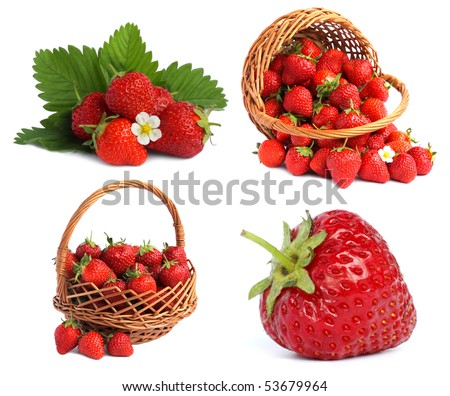 set strawberries images in basket with leaves and flowers