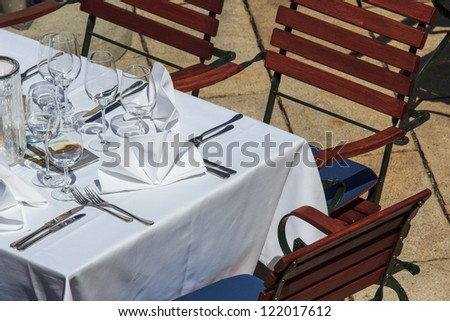 Set table on a restaurant's terrace in Austria
