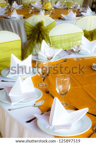 set tables with party favors