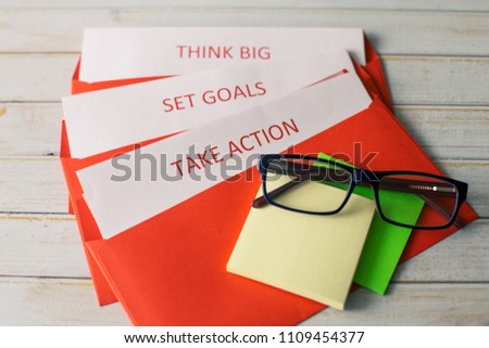 Set the goal, think big and take action - the concept of successful business activities. Can illustrate brainstorming and design thinking. #1109454377