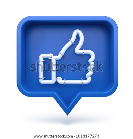 Set Thumbs up icon on a blue pin isolated on white background. Neon Like symbol. 3d render