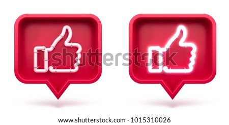 Set Thumbs up icon on a red pin isolated on white background. Neon Like symbol. 3d render