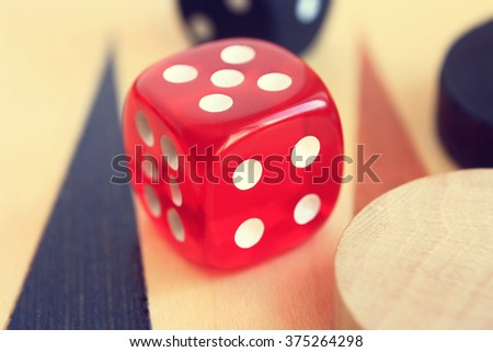 Set to play backgammon: red dice, dice and playing field. #375264298