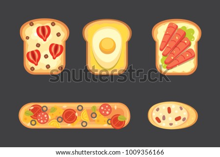 Set toasts and sandwich breakfast. Bread toast with jam, egg, cheese, blueberry, peanut butter, salami, fish. Flat illustration.