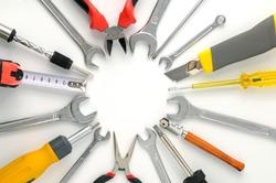 Set tools arranged around circle on white background.
