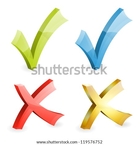 Set Transparent Check Marks Various Colors, icon isolated on white, illustration