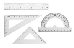 Set transparent rulers isolated on white background