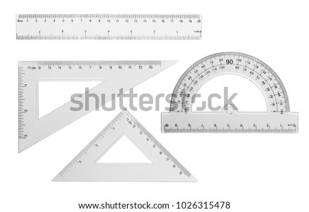 Set transparent rulers isolated on white background - Shutterstock ID 1026315478