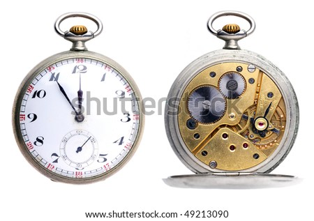 Set two pictures of opened old vintage pocket clock isolated on white background - stock photo