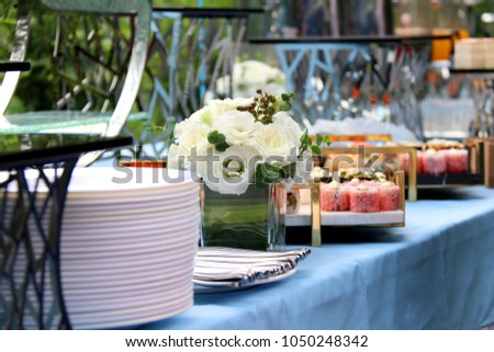 set up table for event, food & drinks #1050248342
