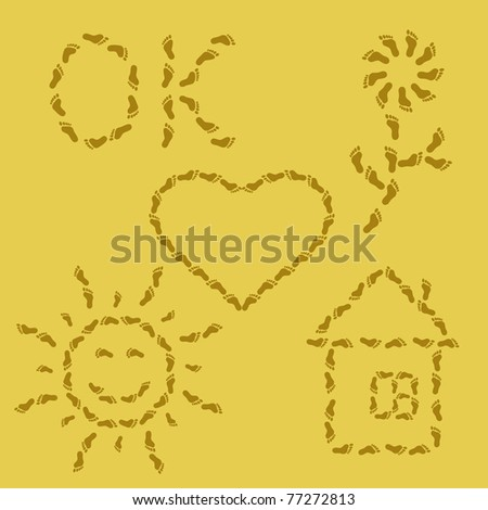 set, various symbols from traces on sand