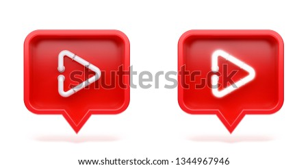 Set video icon on a red pin isolated on white background. Neon symbol. 3d render
