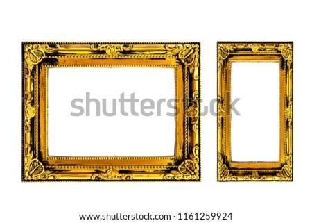 Set Vintage Golden Frame, Wooden Border  #1161259924