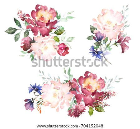 Set Watercolor flowers. Hand painted floral illustration. Bouquet of flowers pink rose. Design arrangements for textile or greeting card. Abstraction branch of flowers isolated on white background.