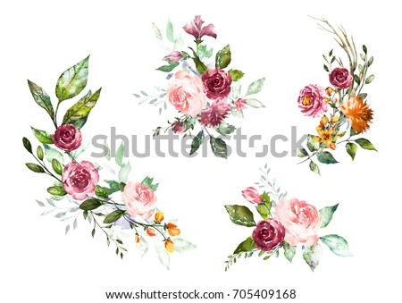 set watercolor flowers. hand...