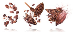 Set with A lot of cocoa pod and beans, cracked and whole isolated on a white background. Food levitation concept, flying in the air.